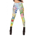 Cute and Colorful Cartoon Pattern Fashionable Elastic Leggings