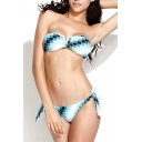 Ombre Checkered V-wire Tie Back Bandeau Bikini Set