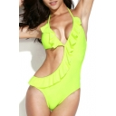 Neon Green Cut Out One Piece Swimsuit with Ruffle Detail