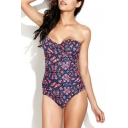 Frill Trim Ruched One Piece Swimsuit in Floral Print