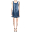 Basic Scoop Neck Button Through Denim Tank Dress