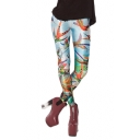 Colorful Birds Print Ventilating Elastic Leggings