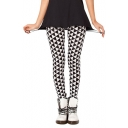 Black and White Geometric Print Elastic Leggings