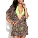 Leopard Print V-neck Drawstring Waist Cover Up