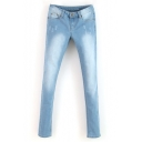Glorious Slimming Light Wash Simlie Ripped Jeans with Studs on Pockets