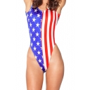 Flag of USA Print One Piece Swimsuit