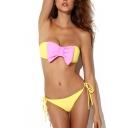 Contrast Bow Tie Back Bandeau Bikini Set