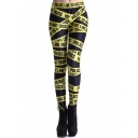 POLICE LINE DO NOT CROSS Print Elastic Leggings