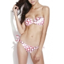 Red Circles Print V-wire Tie Side Bikini Set