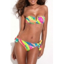 Colorful Palm Print V-wire Tie Back Bikini Set