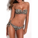 Wild Leopard Print Bandeau Bikini Set with Removable Halter Strap