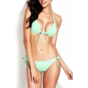 Solid Tie Front Bikini Set in Ruched Detail