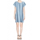 Light Blue Short Sleeve Denim Shift Dress with Pockets