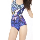 Colorful Owl Print Scoop Neck One Piece Swimsuit