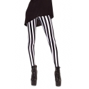 Black and White Vertical Striped Print Elastic Leggings
