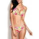 Frill Trim Floral Print Tie Back Triangle Bikini Set