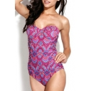 Ruched Detail Frill Trim Floral Print One Piece Swimsuit