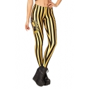 Black and Yellow Stripe Hufflepuff Logo Print Leggings