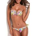 Tropical Floral Print V-wire Tie Back Bandeau Bikini Set