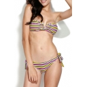 Essential V-wire Bandeau Bikini Set in Multi-color Stripe Print