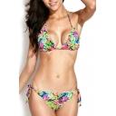 Ruffled Tropical Floral Print Triangle Bikini Set