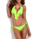 Fluorescent Green Halter Ruffle Hem Strappy Triangle Bottom Swimsuit