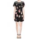 Mesh Trim Short Sleeve Round Neck Dress in Floral Print