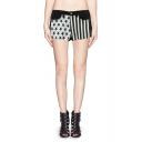 Black and White Stars and Stripes Print Frayed Hem Shorts