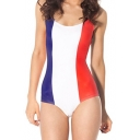 France Flag Print Scoop Neck One Piece Swimsuit