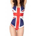 Flag of UK Print Scoop Neck One Piece Swimsuit