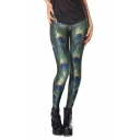 Green Peacock Feather Print Full Length Leggings