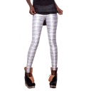 Sliver Long Elastic Leggings with Music Score Print