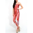 Human Flesh Print Scoop Neck Sleeveless Jumpsuit