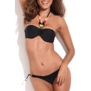 Jeweled Halter Bandeau Bikini Top with Black Bikini Bottom