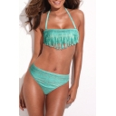 Fringed Tribal Print Bandeau Top with Matching Bikini Bottom