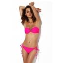 Fuchsia Tie Back V-wire Bandeau Bikini Set