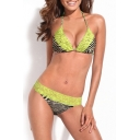 Charming Zebra Print Halter Top Lace-insert Bottom Swimsuit