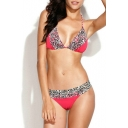 Zebra Print Braided Strap Bikini Top with Brazilian Bikini Bottom