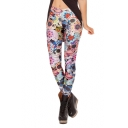 Colorful Floral and Skull Designs Pattern Skinny Leggings