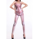 Pink Sleeveless Scoop Neck Jumpsuits with Skull Bones Pattern