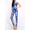 Blue Comics Print Scoop Neck Sleeveless Jumpsuit