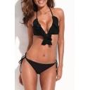 Black Ruffle Trim Triangle Bikini Top with String Bikini Bottom