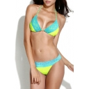 Color Block High Elastic Lace Trim Bikini Set