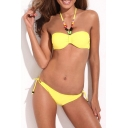 Yellow Jeweled Halter Bikini Top with Matching Bikini Bottom