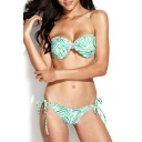 Frilled Trim Bow Detail Bikini Set in Zebra Print