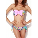 Bow Front Bandeau Bikini Set in Floral Print