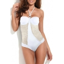 White Mesh Trim Ring Detail One Piece Swimsuit