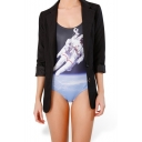 Floating Astronaut Print Scoop Neck One Piece Swimsuit