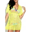 Neon Yellow V-neck Drawstring High Waist Eyelet Cover Up