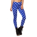 Star Print Deep Blue Skinny Leggings